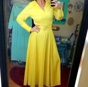 VTG 60s/70s Lillie Rubin Yellow Maxi Dress